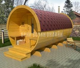 Проект дома бани-бочки Стандарт с крыльцом