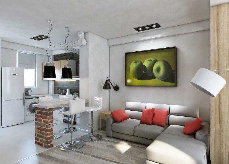 Варианты дизайна кухонь-гостиных на 18 кв.м