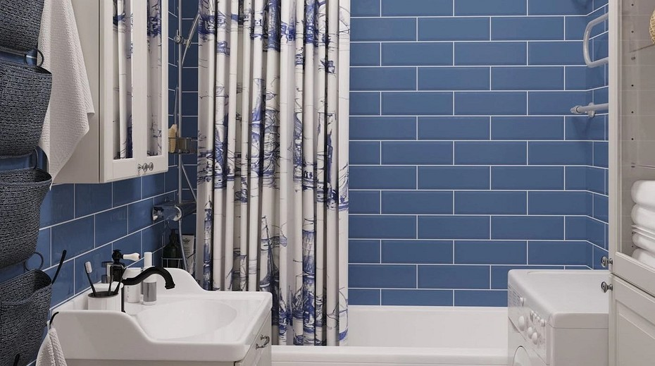 Дизайн синей ванной комнаты: 24 варианта интерьеров