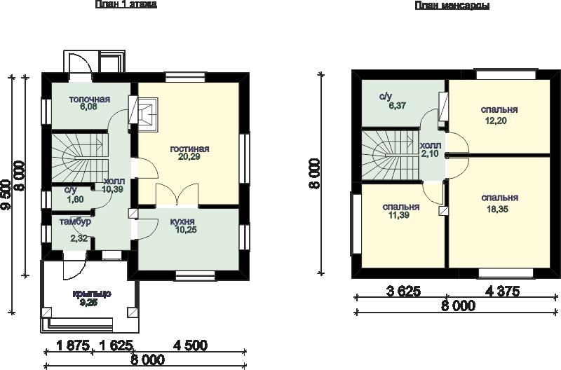 Планировка дома площадью 95 кв.м