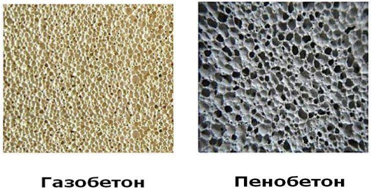Сравнение структуры пеноблока и газобетона