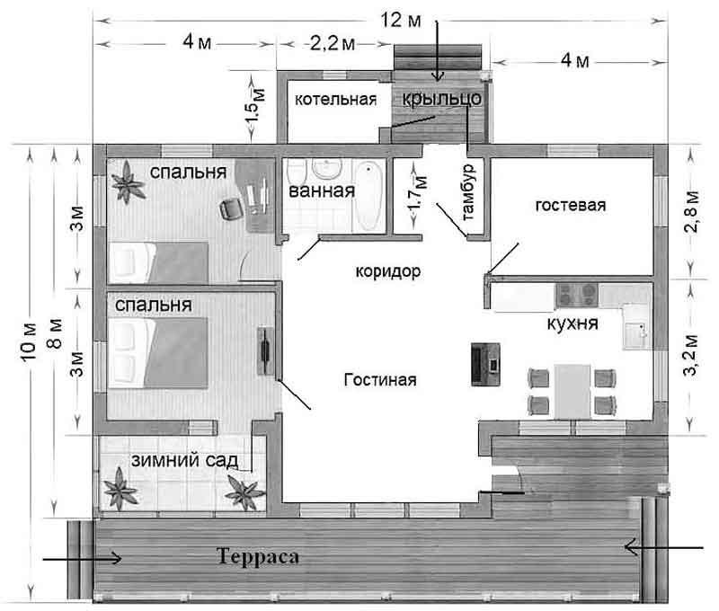 планировка дома 10 на 12 с террасой