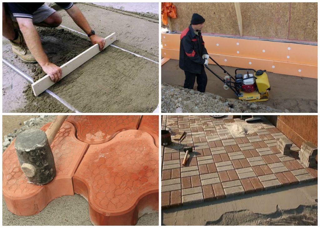 укладка тротуарной плитки на отмостку из бетона