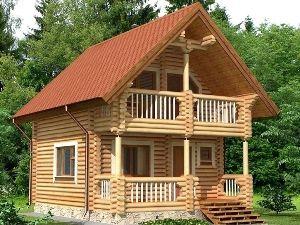 двухэтажные бани из бревна