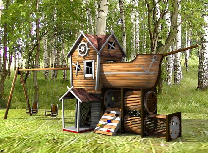 Детский домик, стилизованный под корабль