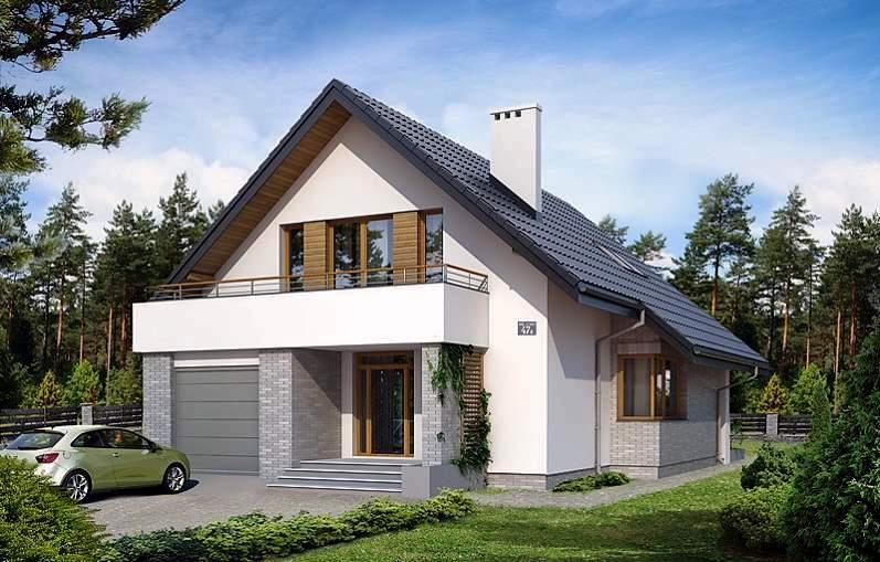 простые проекты мансардных домов с гаражом