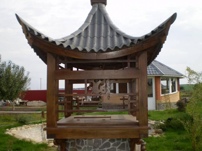 декоративный колодец на даче