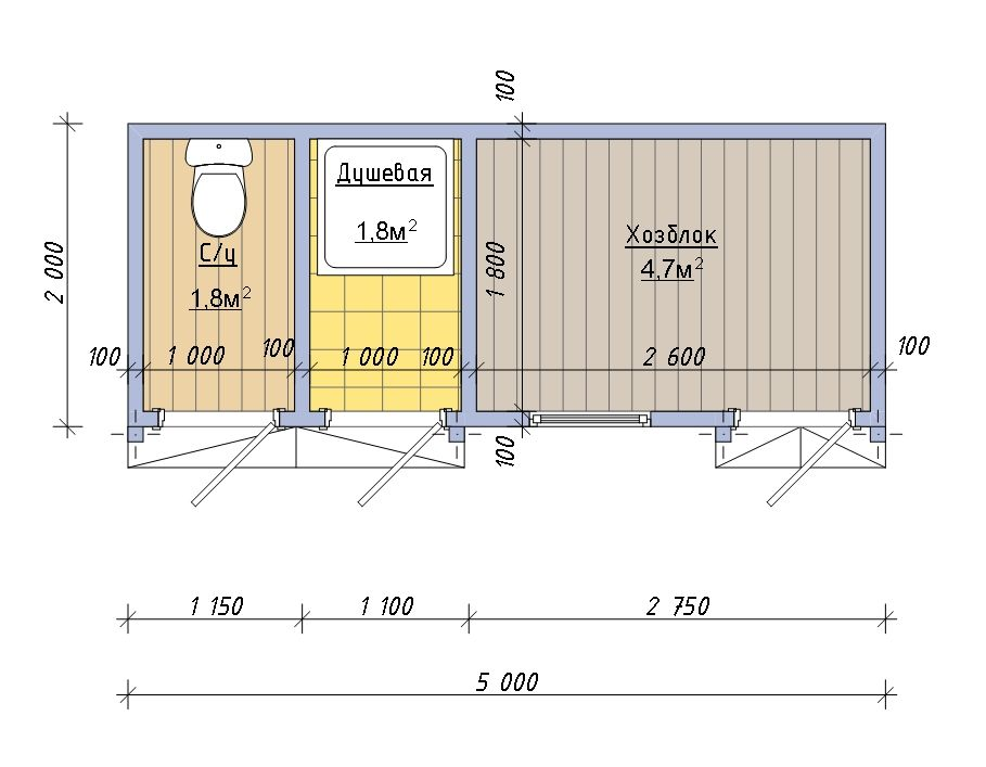 Планировка хозблока 5х2 с душем и санузлом