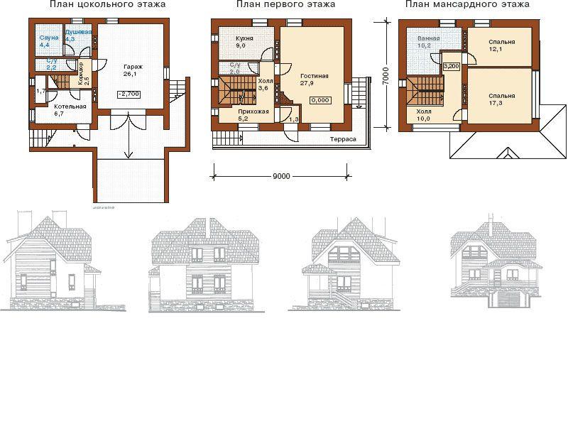 план дома с цокольным этажом фото каком году