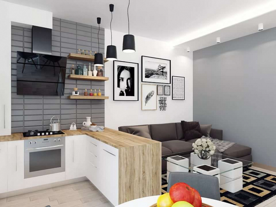 Оформление кухни-гостиной на 15 кв. м