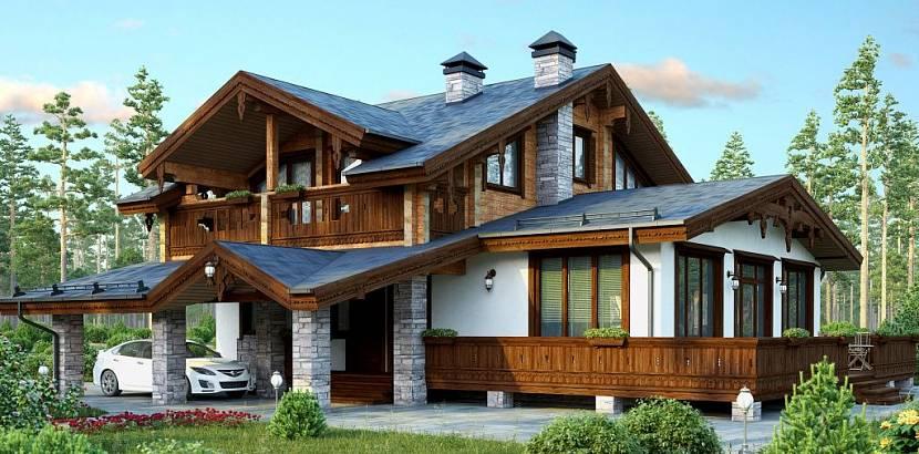 интерьер шале в деревянном доме