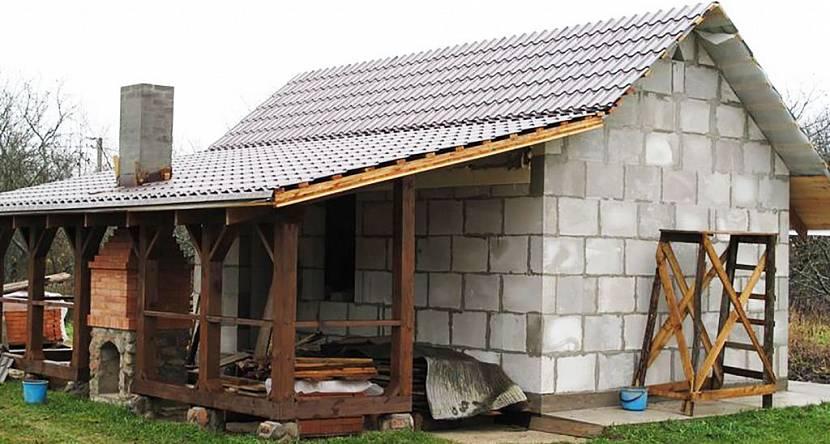 баня с террасой под одной крышей