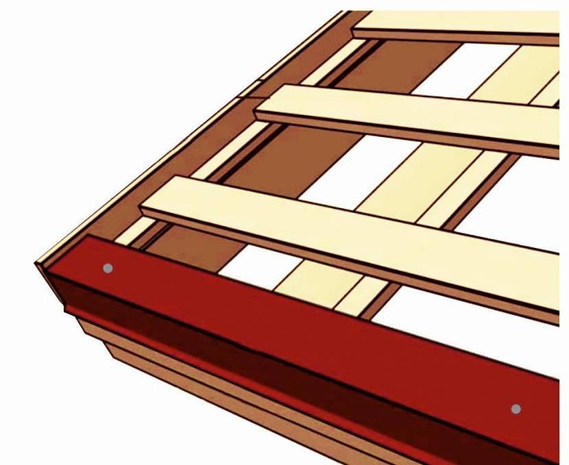 Карнизную планку крепят к нижней доске