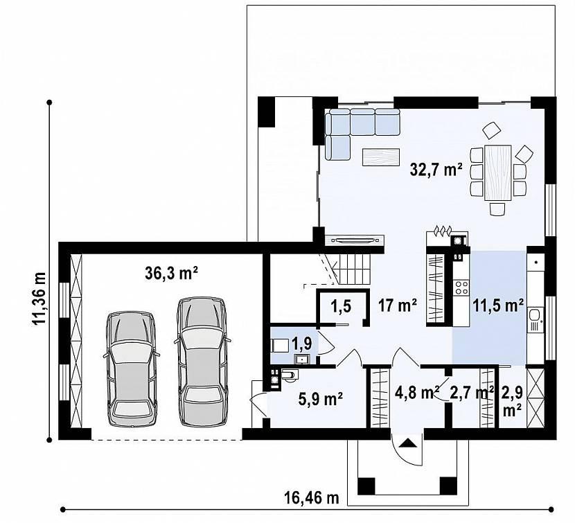 планировка дома с гаражом на 2 машины