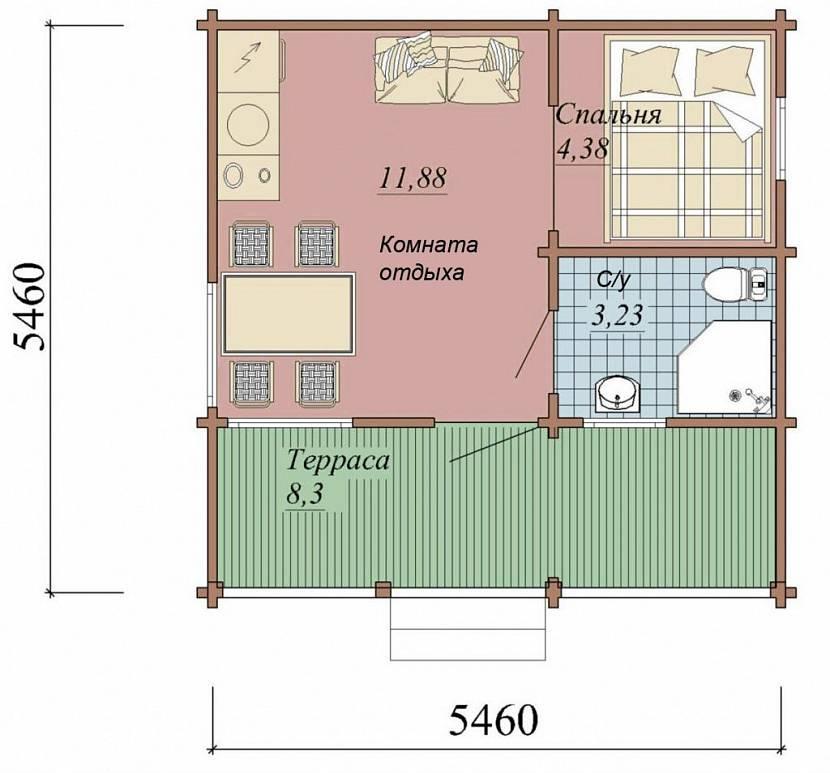 Вариант планировки гостевого домика
