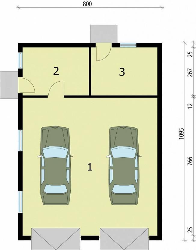 план гаража на 1 машину с хозблоком
