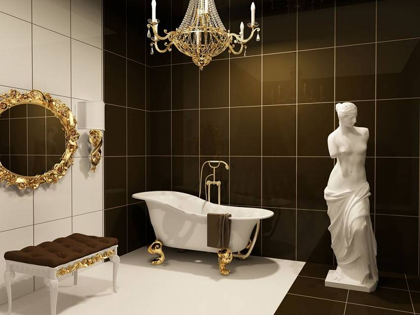 Скульптура в интерьере ванной