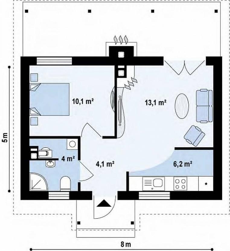 Планировка маленького одноэтажного дома