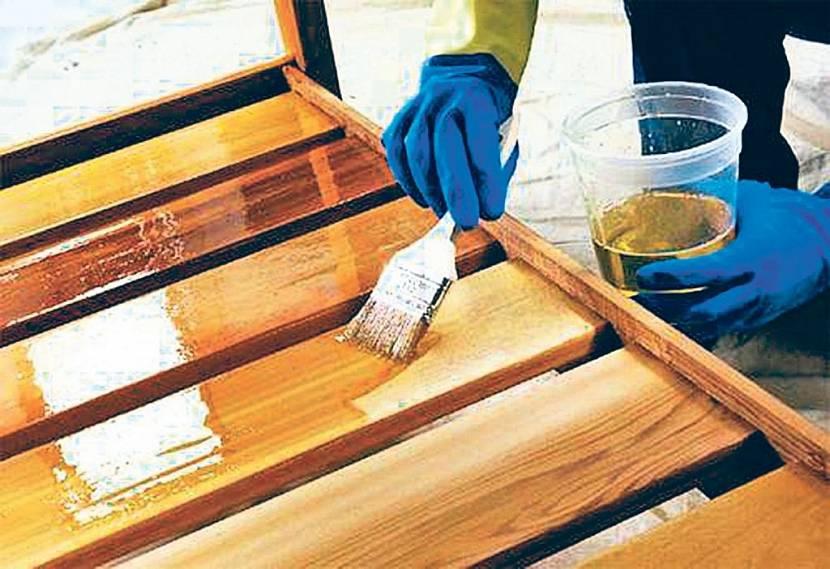 Обработка лагов маслом