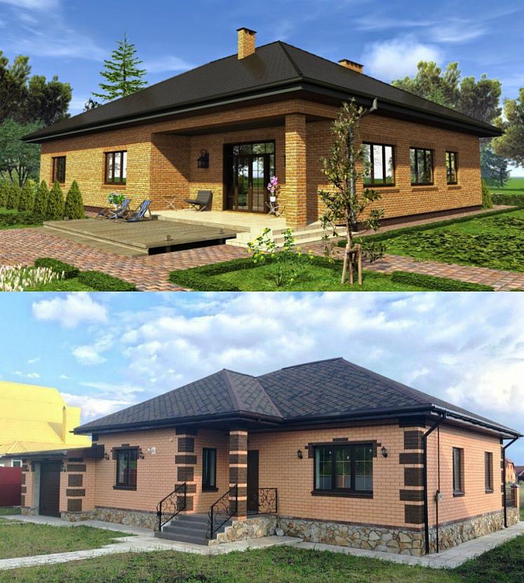 Проект и фото кирпичного дома