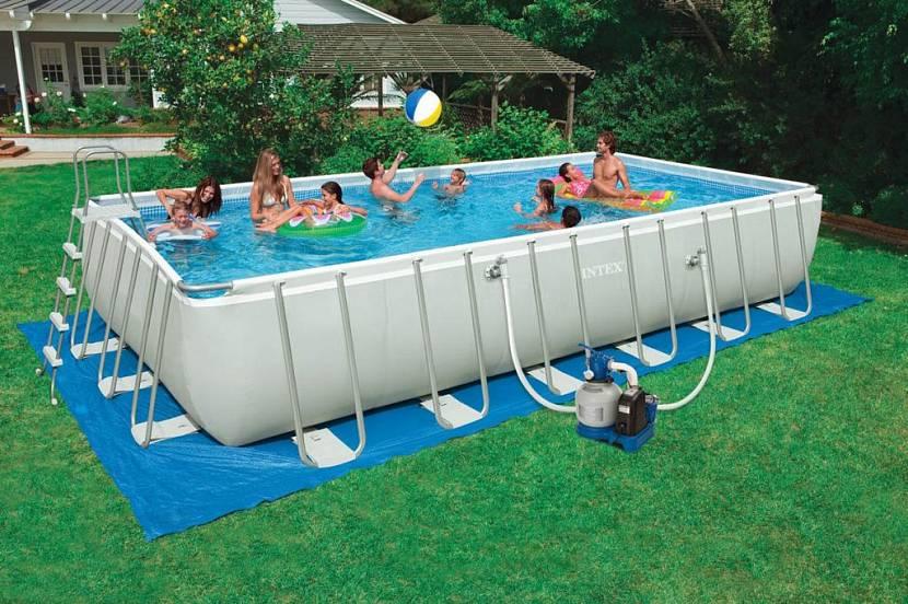 надувные бассейны с горкой для детей на дачу