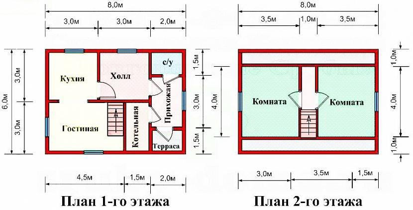 Готовые проекты и чертежи одноэтажных и двухэтажных домов из ... | 422x830