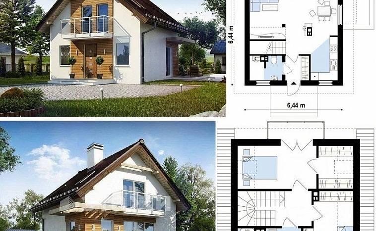 Дом одноэтажный 6 на 9, проект, планировка дома из бруса. | 467x758