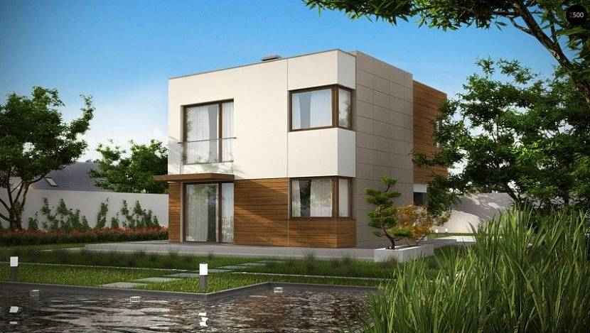дизайн фасада дома с плоской крышей