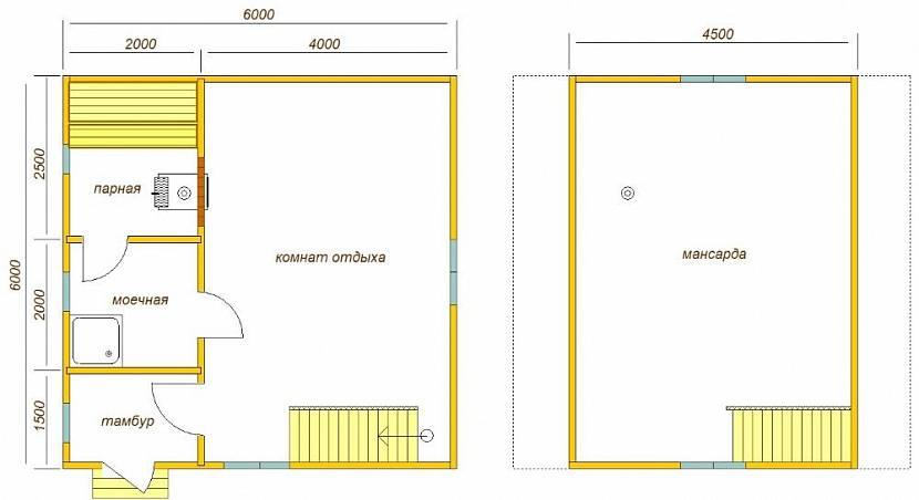 Планировка двухэтажного гостевого дома