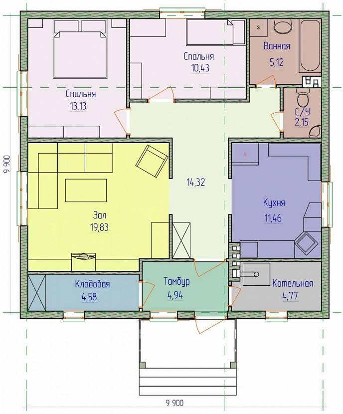 Проект дома 10х10 с отличной планировкой 2 этажа | 830x688