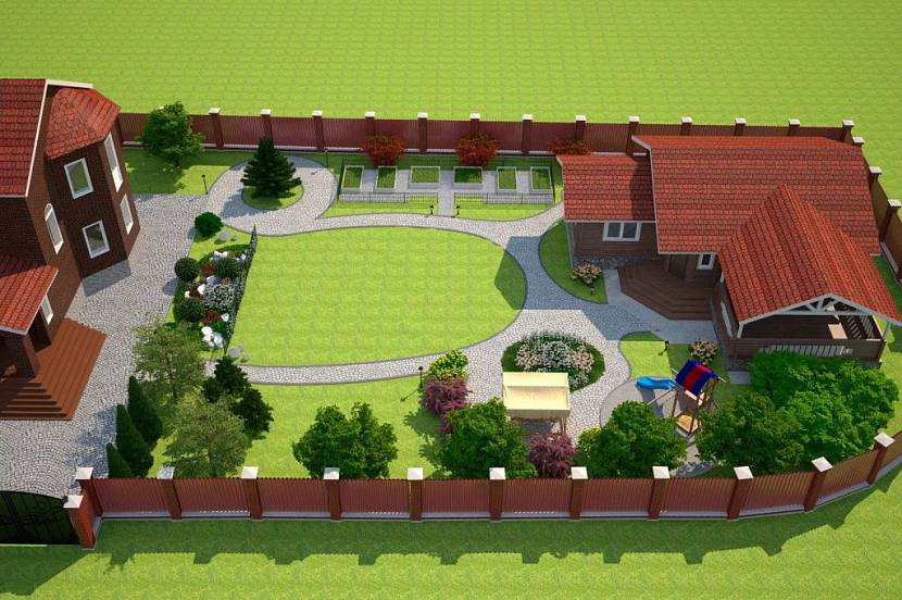 проект участка 10 соток с домом