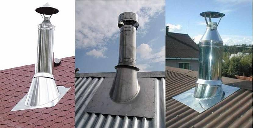 герметизация печной трубы на крыше из профнастила