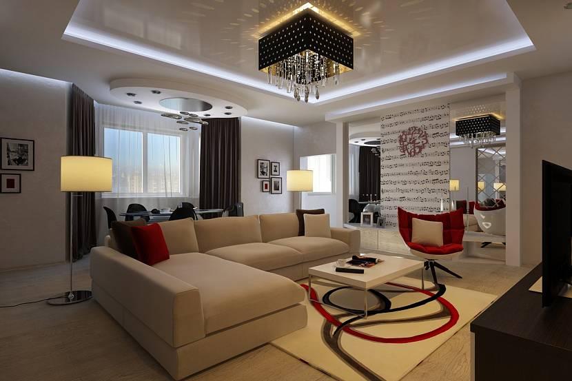 освещение в гостиной с натяжным потолком