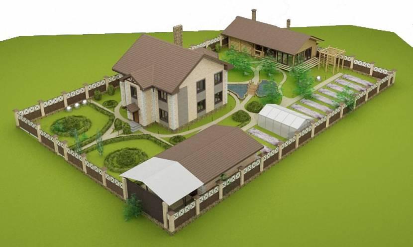 планировка участка 10 соток с домом и баней