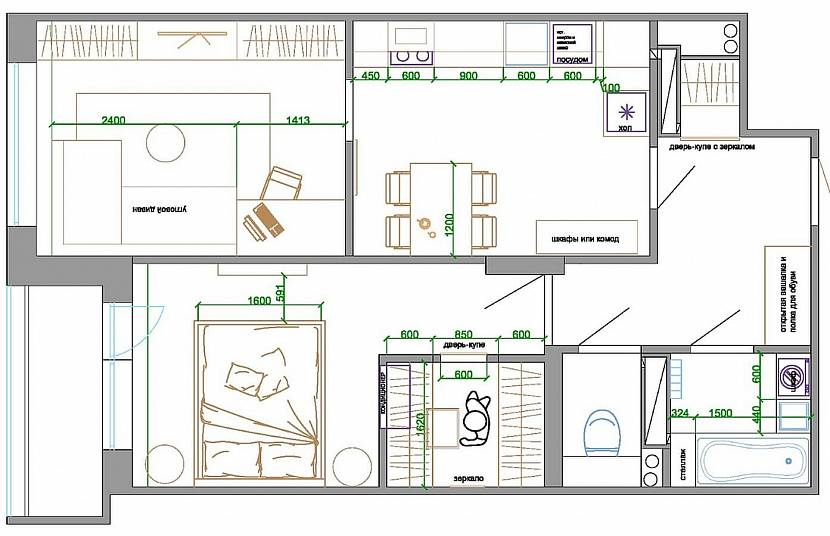 Схематический дизайн с мебелью