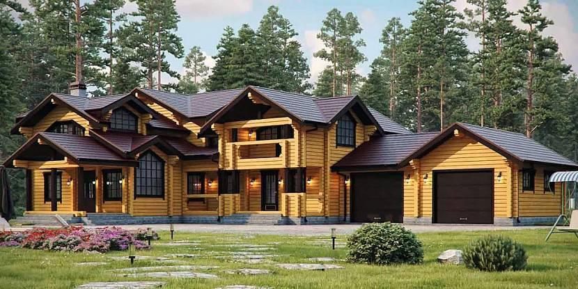 Проект дома с двумя гаражами