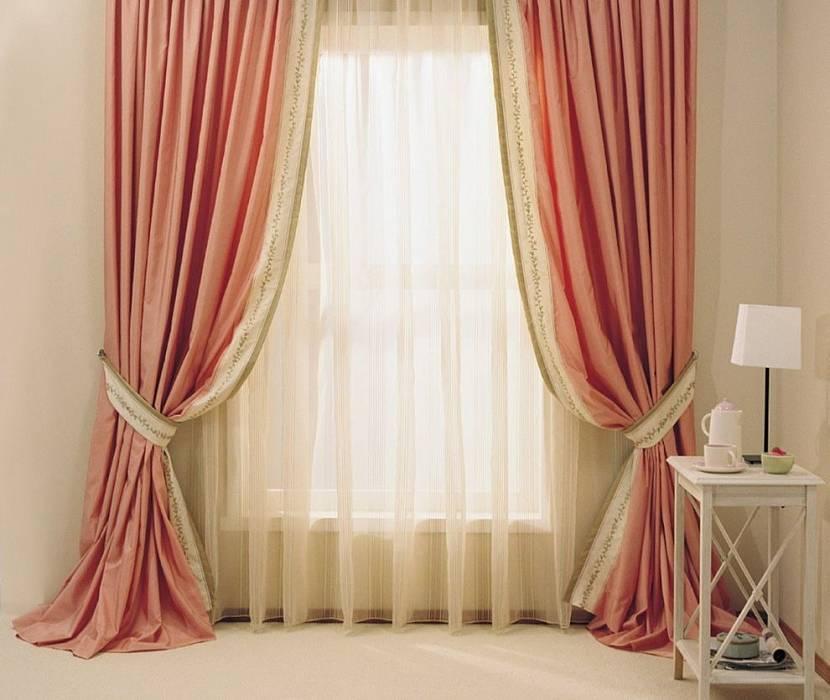 Бежево-розовые шторы