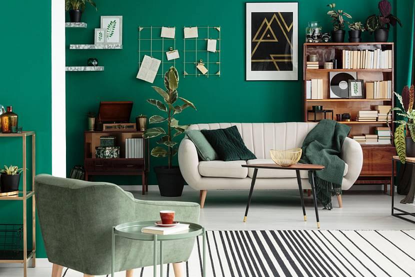Гостиная в зеленых оттенках