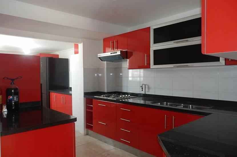 Кухня в красно-бело-черном цвете фото