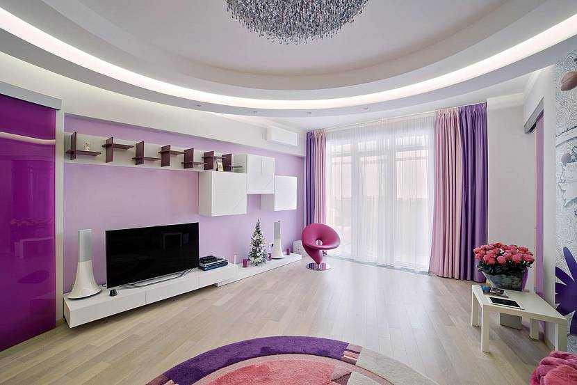 Розово-фиолетовые шторы