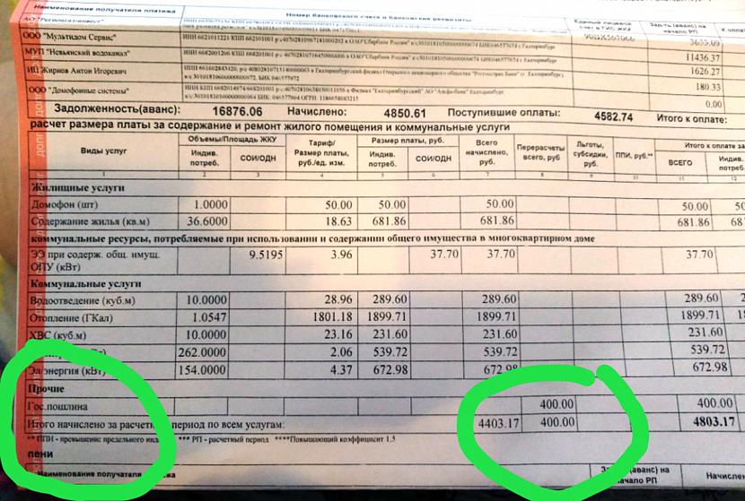 Образец квитанции коммунальных платежей