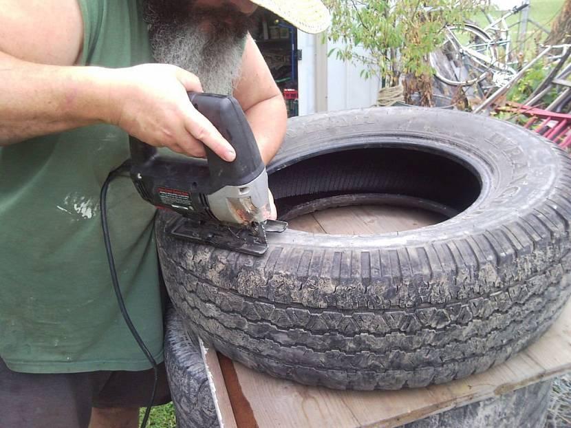 Сразать бортик шины