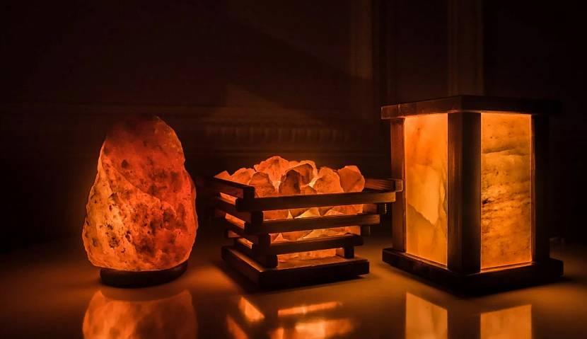 Различные виды светильников из розовой гималайской соли