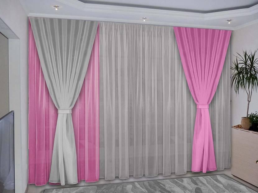 Серо-розовые шторы