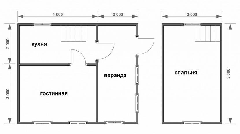 планировки домов с мансардой 5х6