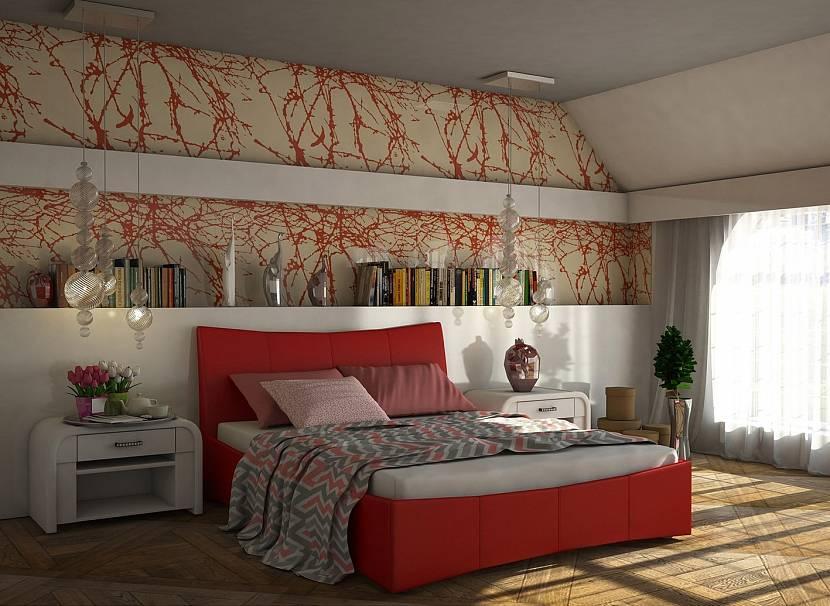 Терракотовый цвет в декоре спальни
