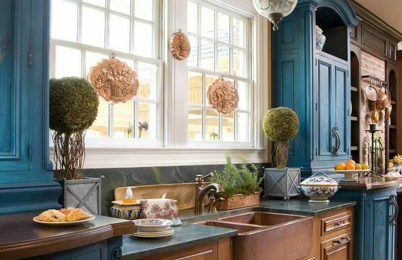 Синяя кантри кухня