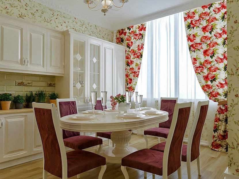 Цветочные шторы для кухни