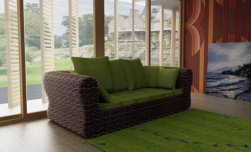 Эко-стиль и диван из ротанга