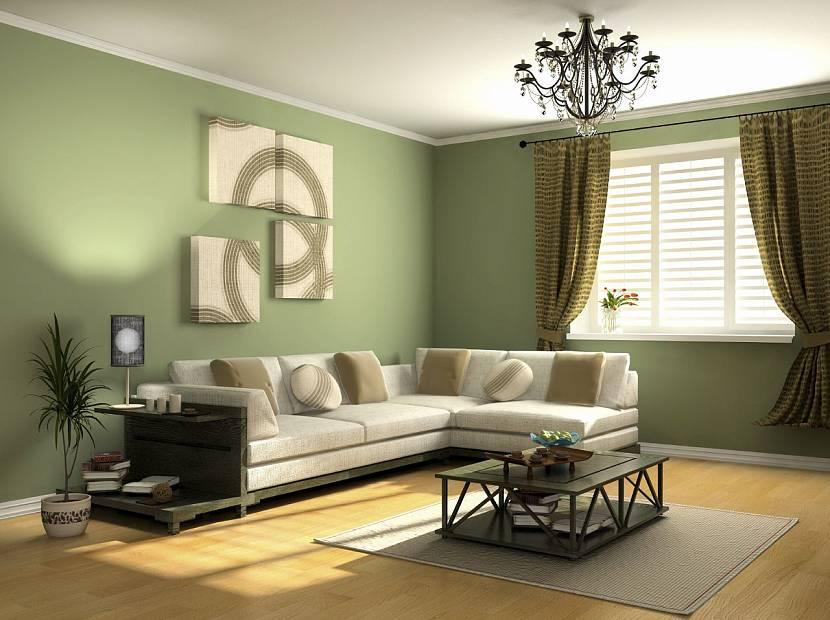 Оливковые обои в гостиной